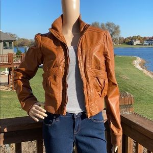Miss Lili Faux Leather Bomber Ribbed Jacket Size L